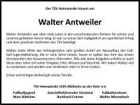 Wir trauern um Walter Antweiler